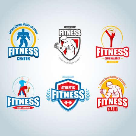 Fitness templates set. Ilustrace