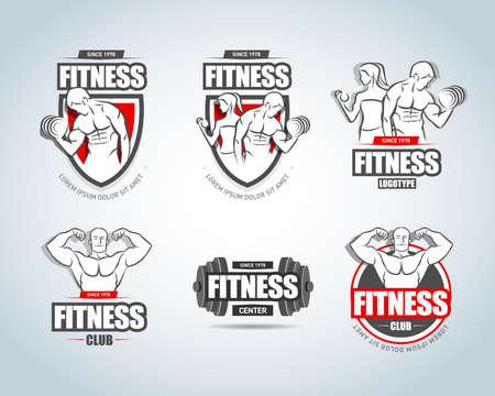 Man woman Fitness templates set. Gym club. Sport Fitness club creative concepts. Gym club. Bodybuilder, Sportsman Fitness Model Illustration, Sign, Symbol, badge.