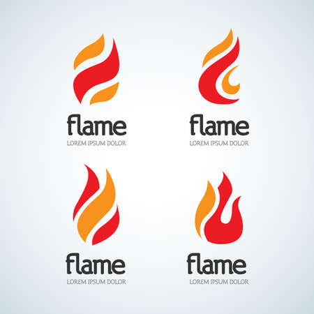 Fire Flame Logo design vector template drop silhouette set. Creative Droplet Burn Elegant Bonfire Logotype Fire Logo concept icons. Isolated Vector Illustration. Çizim