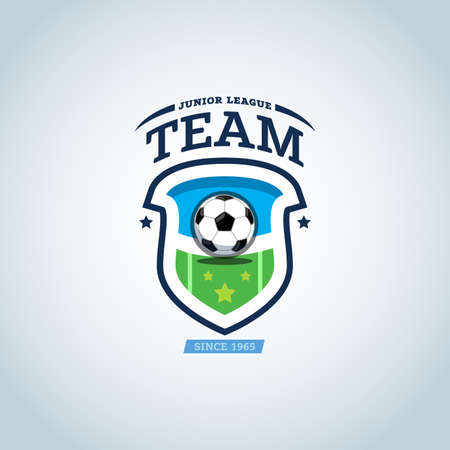 Green and dark blue soccer football badge design template, sport logotype template. Soccer Themed T shirt. Football logo. Vector illustration. Illustration