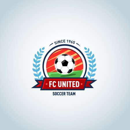 Red, orange and green soccer football badge logo design template, sport logotype template. Soccer Themed T shirt. Football logo. Vector illustration.