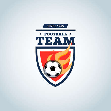 Soccer logo. Orange and dark blue soccer football badge design template, sport logotype template. Soccer Themed T shirt. Football logo. Vector illustration. Illustration