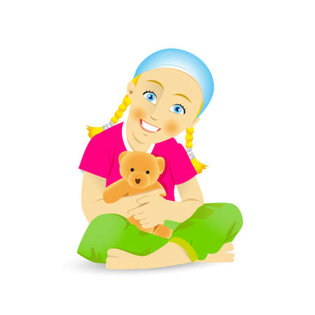 Cute little girl with teddy bear. Cheerful little girl holding teddy bear and looking at camera while isolated on white. Isolated vector illustrations.
