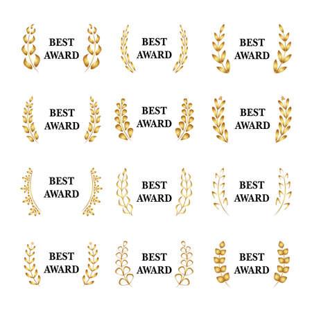 Best award Vector gold award laurel wreath set. Winner label, leaf symbol victory, triumph and success illustration set. White version Illustration