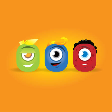 Three cute head characters, vector art.