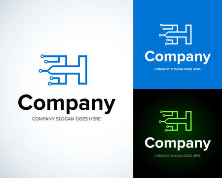 Modern stylish with letter H. Business Technology vector logotype design template. Creative concept icon. Corporate company identity. Ilustração