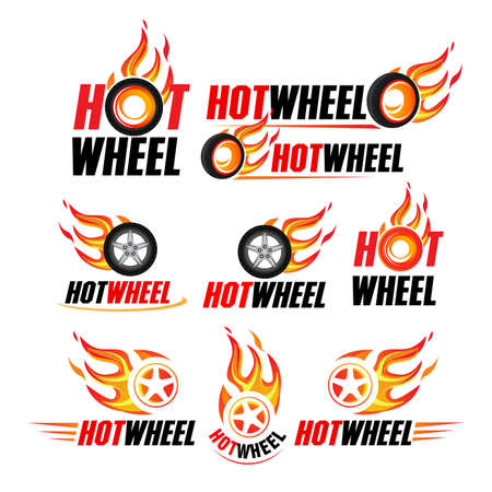 Hot wheel, Racing flat labels set. Blaze and flash logo, emblem, auto transport, flame tire, isolated vector illustrations