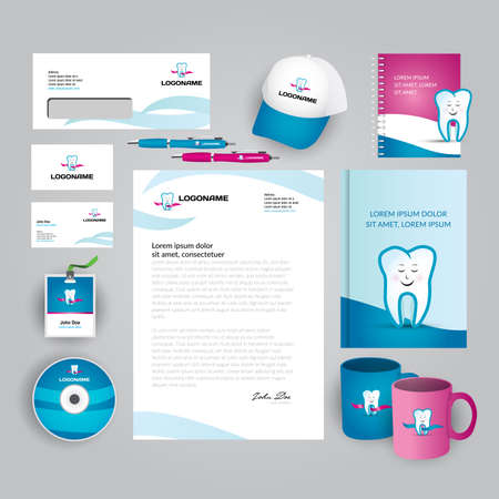 Dental clinic, office, oral medicine, stomatology, corporate identity. Vector company style for brand book and guideline. Documentation for business. 矢量图像