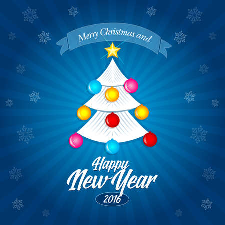 Happy New Year 2016 and Merry Christmas banner, postcard, christmas card. White new year tree.
