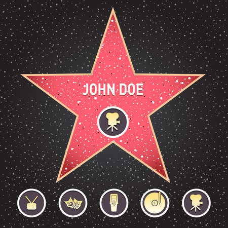 Hollywood star. Walk of fame star with emblems symbolize five categories. Hollywood, famous sidewalk, boulevard actor. Isolated Vector illustration Illustration