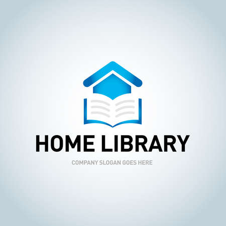 Logo library for the library or bookstore, online bookstore. Library logo book. Isolated vector illustration. Çizim
