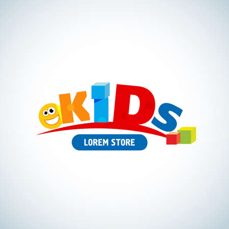 Kids logo template. Kids logotype design concept for kids store, kindergarten, etc. Isolated vector illustration.