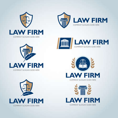 Lawyer logo design templates. Law office logo set. The judge, Law firm logo templates, lawyer set of vintage labels collection. Vector logotypes. Иллюстрация