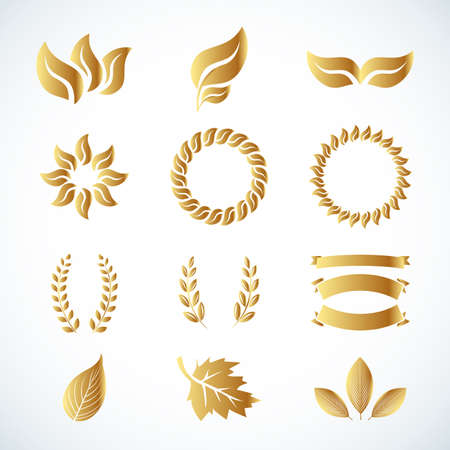 Isolated golden leaves. Golden laurel leaves set. Design set for emblem, logotype. Vintage logotype, icons. Vector illustrations. Иллюстрация