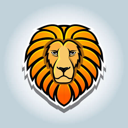A Lion head mascot logo vector illustration, t-shirt graphic.