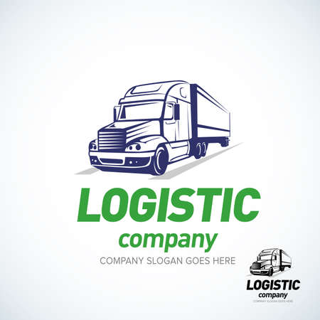 Truck logo template. Logistic truck logo. Isolated vector illustration. Çizim