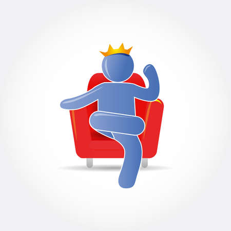 Vector man (king) on ​​red chair. Vector icon, logo design template. Illustration