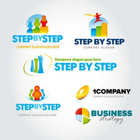 Colorful marketing logotypes set, marketing logo, map, market, social marketing, Isolated Vector Logo Template. Çizim