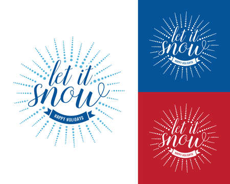 Let it snow vintage Christmas and New Year card, t-shirt design. Hipster, T-shirt, badge design. Vector illustration.