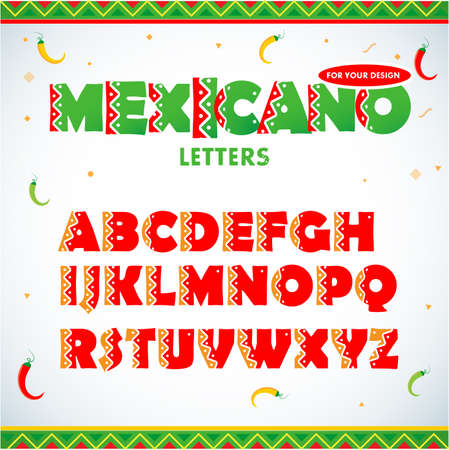 Mexican letters for advertising, title or logo design. Modern font. Mexican style Latin alphabet letters. Alphabet. Isolated vector illustration. Illustration