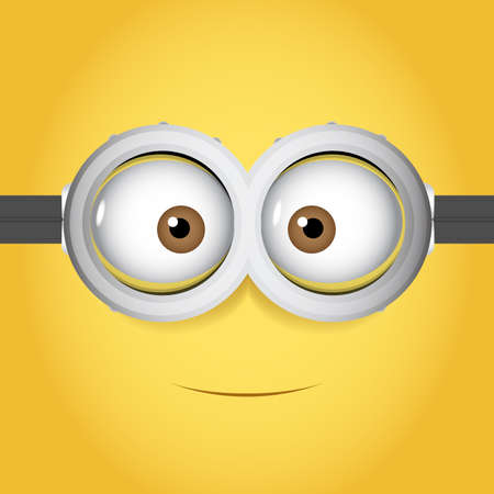 Cartoon Vector illustration of goggle with two eye on yellow color background