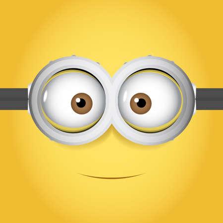 Illustrazione di vettore del fumetto degli occhiali di protezione con l'occhio due sul fondo giallo di colore Vettoriali