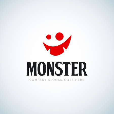 Monster face logo icon. Monster logotype. Open mouth with teeth. Fantasy character mascot. Comic hero. Red Monster icon.
