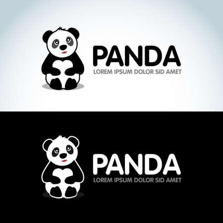 Modèle de conception de bannière Panda assis mignon