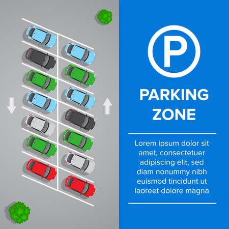 Parking lot, parking sign illustration. Car and transportation, auto park. Cars, top view.