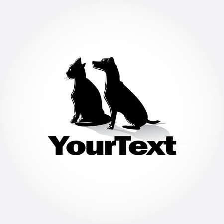 Cat and Dog silhouettes poster design Ilustração