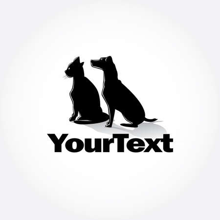 Cat and Dog silhouettes poster design Vettoriali