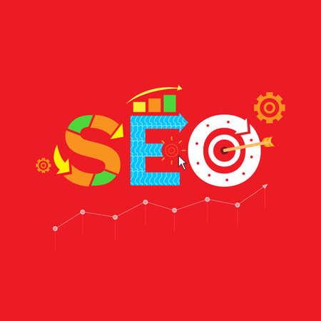 SEO. Search engine optimization (SEO) vector illustration concept. Red color version Illustration
