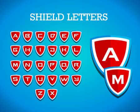 Shield letters Branding Identity Corporate logo design template, emblem, crest, badge, t shirt design. Vector illustration. Ilustração