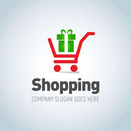 Shopping logotype. Shopping cart with present logo design vector template concept icon. Logotype for online store, shopping store, presents store, mall, sale.