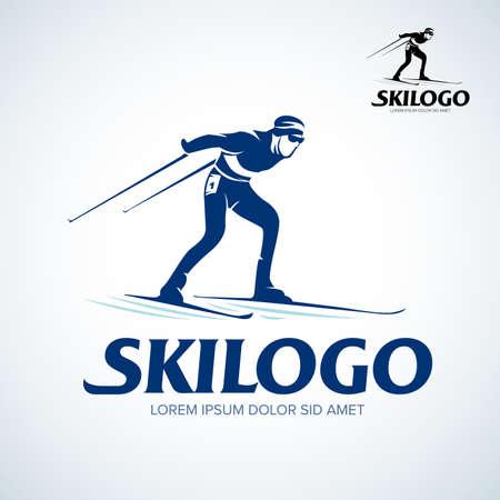 Ski logo isolated Vector Illustration. Winter sport template logotype or emblem for design.