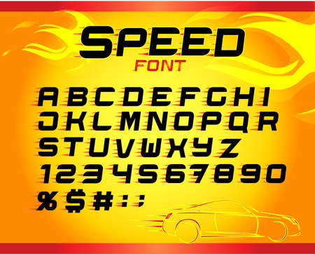 Fast speed english alphabet letters, numbers, symbols for your design. Fast speed font. Vector design template elements for your application or company.