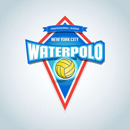 Water polo sports logo, label, emblem. Water polo isolated badge logo, sport t-shirt graphics. Club emblem, college league logo, sport tournament, championship design