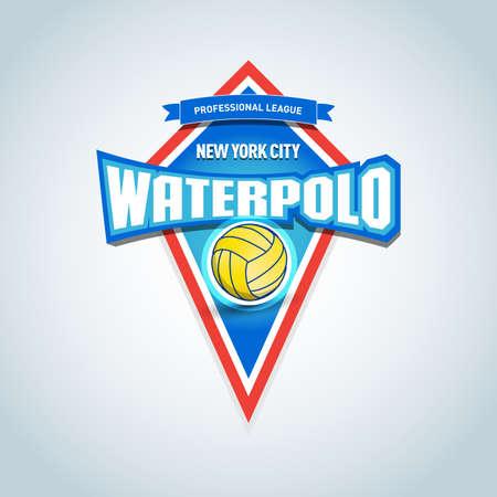 Waterpolo sport logo, etiket, embleem. Waterpolo geïsoleerd badge logo, sport t-shirt afbeeldingen. Clubembleem, college league-logo, sporttoernooi, kampioenschapsontwerp Logo