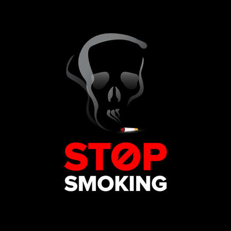 Stop smoking poster, billboard design. Stop smoking sign. Isolated vector illustration on black background.