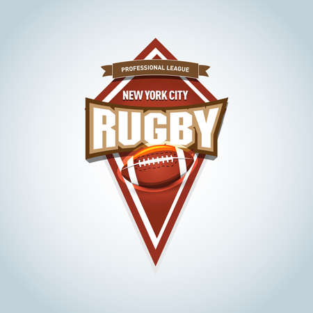 Rugby Logo, American Logo Sport. Vector rugby league logo with ball. Sport badge for tournament championship or league. Isolated vector illustration.  イラスト・ベクター素材