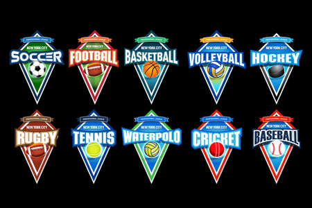 Mega set of colorful sports logos soccer, football, basketball, volleyball, hockey, rugby, tennis, waterpolo, cricket, baseball. Vector abstract isolated illustration on black background.