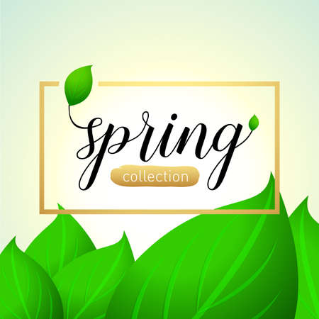 Spring sale background with beautiful leaves. Isolated Vector illustration template.banners.Wallpaper.flyers, invitation, posters, brochure, voucher discount. Illusztráció