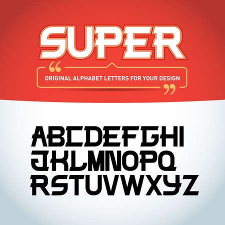 'Super letters' isolated on black background. Modern font. Latin alphabet letters. Alphabet. Modern geometric font for advertising, title or logo design. Vector Illustration.