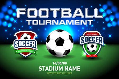 Fußball-Pokal-Flagge der Weltmeisterschaft 2018 und Stadionhintergrund. Fußball Anzeigetafel Match vs Strategie Broadcast Grafikvorlage