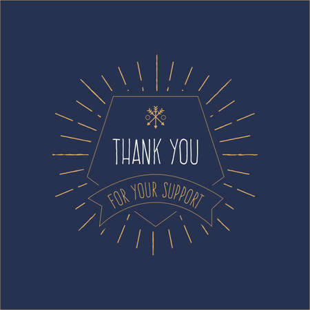 Thank You '- Vintage card with sunburst. Hipster, T-shirt, badge design. Vector illustration.