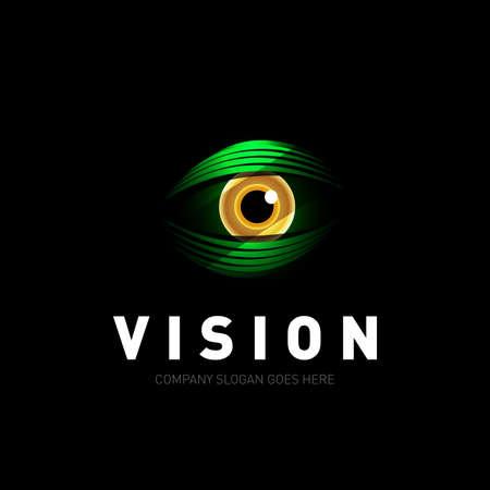 Modèle de vecteur de conception de logo oeil coloré. Icône de médias colorés. Concept de Logotype Vision créative. Illustration vectorielle isolé.