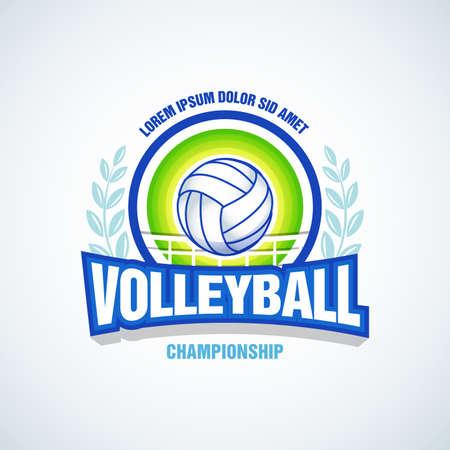 Volleyball team logo template. Volleyball emblem, logotype template, t-shirt apparel design. Volleyball ball. Sport badge for tournament or championship. Foto de archivo - 107294581