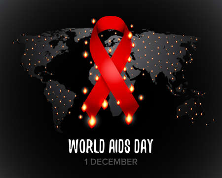 Red ribbon of aids. World map. Isolated vector illustration.
