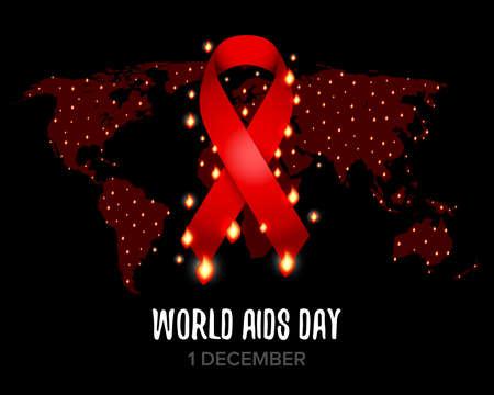 Red ribbon of aids. World map. Isolated vector illustration Ilustração