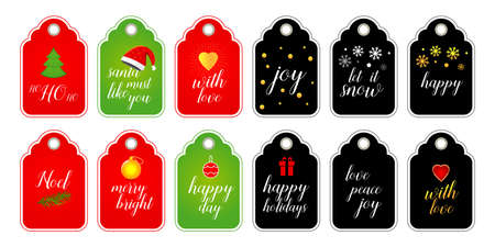 Collection of Christmas and New Year cute ready-to-use gift tags. Set of 12 printable holiday label in red green and black with gold. Vector seasonal badge design